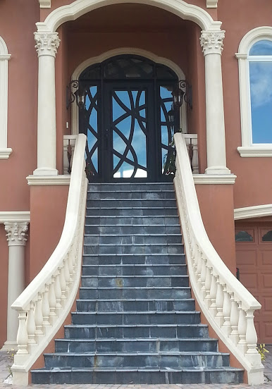 Staircase - love the reflection of the clouds in the window